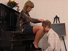 Older Piano Teacher Dominates Her Student^beeg