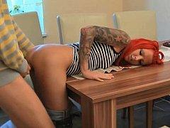 Lexy Coxx  German Redhead Girlfriend Gets It On A Kitchen Table^beeg