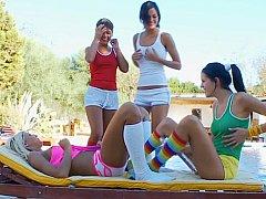 Adria, Dakota, Mia, Romea  Colourful Lesbian Orgy^beeg