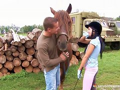Her Riding Coach Takes Her Outside And Fucks Her On A Stack Of Wood